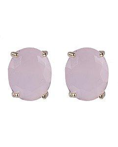 Brinco pequeno de metal dourado com pedra rosa viviane
