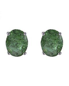 Brinco pequeno de metal prateado com pedra fusion verde Graciane