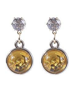 Brinco pequeno de metal dourado com pedra amarela Virgínia