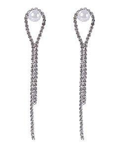 Maxi Brinco de metal prateado com strass cristal e pérola Ieda