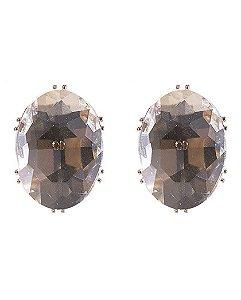 Brinco pequeno de metal dourado com pedra cristal jéssica