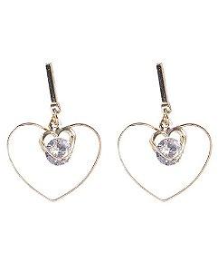 Brinco de metal dourado com pedra cristal heart