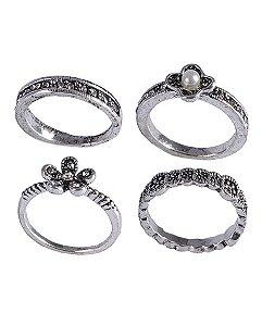 Kit anel de metal prateado com strass cristal e pérola Agatha