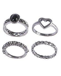Kit anel de metal prateado com pedra preta Gladys