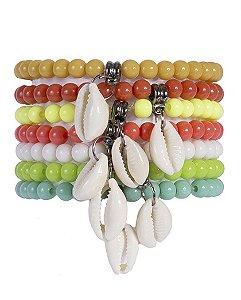 Kit 7 pulseiras de acrílico colorido marília