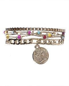 Kit 3 pulseiras de metal dourado com pedras coloridas betty