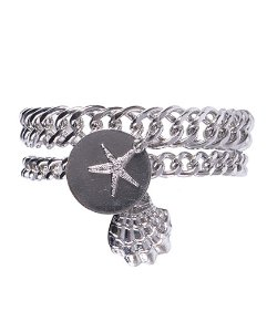 Kit 2 pulseiras de metal prateado janaína