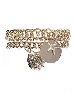 Kit 2 pulseiras de metal dourado janaína