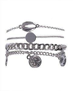 Kit 4 pulseiras de metal prateado iara