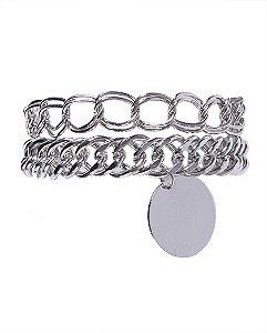Kit 2 pulseiras de metal prateado kátia