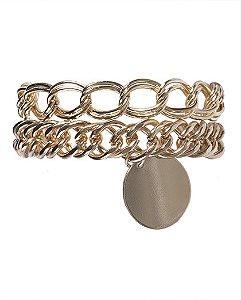 Kit 2 pulseiras de metal dourado kátia