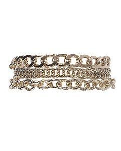 Kit 3 pulseiras de metal dourado vanessa