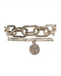 Kit 2 pulseiras de metal dourado rafaela