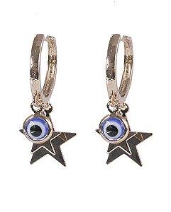 Argola de metal dourado com olho grego adriana