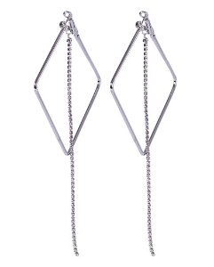 Argola de metal prateado com strass cristal larissa