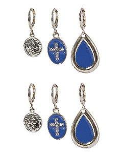 Kit 3 pares de argola dourada com azul Ester