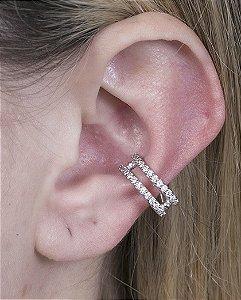 Piercing fake prateado com strass cristal luíza