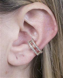 Piercing fake dourado com strass cristal luíza