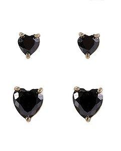 Kit 2 pares de brincos de metal dourado com pedra preta kamila