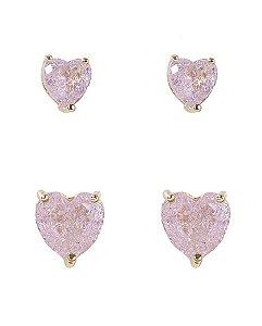 Kit 2 pares de brincos de metal dourado com pedra fusion rosa kamila