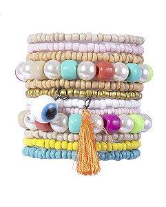 Kit 12 pulseiras de miçangas coloridas queiroga