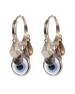 Argola de metal dourado com olho grego nádia