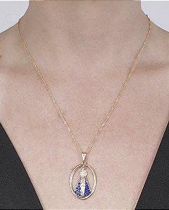 Colar folheado de metal dourado com strass azul Dâmaris