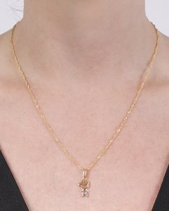 Colar folheado de metal dourado com strass azul léo