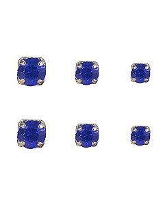 Kit 3 pares de brincos folheados de metal dourado com pedra azul isaura
