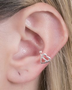 Piercing fake folheado de metal prateado inês