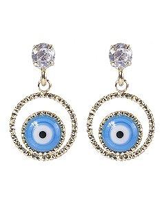 Brinco folheado de metal dourado com olho grego azul Juraci