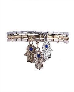 Kit 3 pulseiras de metal prateado, dourado e rosé com pedra azul siena