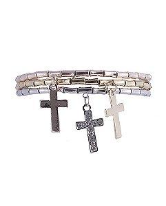 Kit 3 pulseiras de metal prateado, dourado e rosé com strass cristal safira