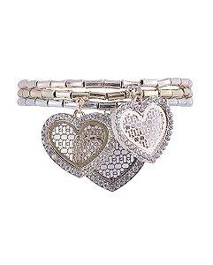 Kit 3 pulseiras de metal prateado, dourado e rosé com strass cristal suri