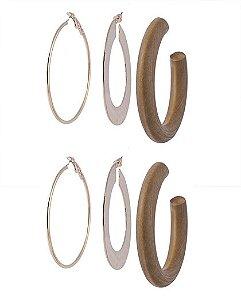 Kit 3 argolas de metal dourado e madeira lolly