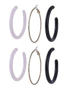 Kit 3 argolas de metal dourado e acrílico preto e rosa anny
