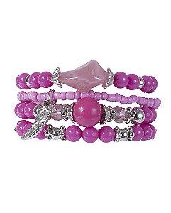 Kit 4 pulseiras de metal prateado com pedra rosa ayla