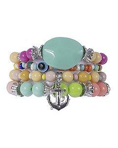 Kit 4 pulseiras de metal prateado com pedras coloridas clara
