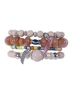 Kit 4 pulseiras de metal prateado com pedras coloridas leila
