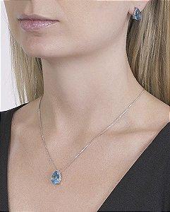 Kit colar mais brinco de metal prateado com pedra azul léia
