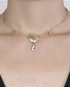 Gargantilha choker de metal dourado com olho grego teodora