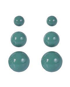 Kit 3 pares de brincos de acrílico turquesa anne