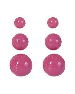 Kit 3 pares de brincos de acrílico pink anne