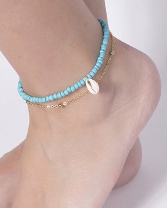 Kit 2 tornozeleiras de metal dourado com miçanga azul léia