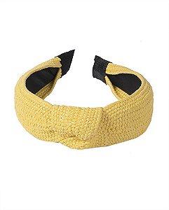 Tiara de palha amarelo sophia