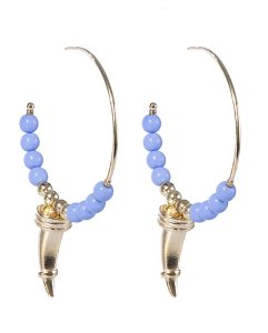 Argola de metal dourado com pedra azul belle