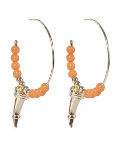 Argola de metal dourado com pedra laranja belle