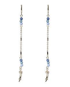 Argola de metal dourado com pedra azul bambi