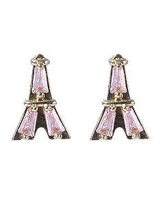 Brinco pequeno de metal dourado com pedra rosa izza