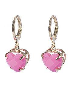 Argola folheada dourada com pedra rosa neon leila